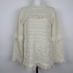 BB Dakota small oatmeal fringe turtleneck sweater